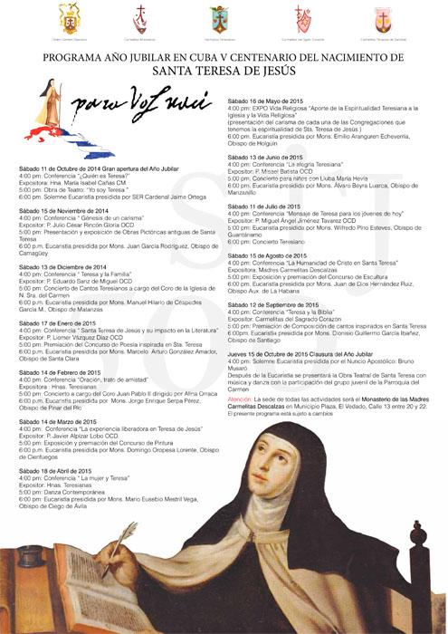 Programa Año Jubilar en Cuba V Centenario del Nacimiento de Santa Teresa de Jesús